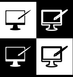 monitor with brush sign black and white vector image