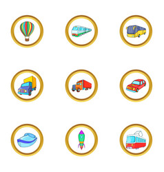new vehicle icons set cartoon style vector image