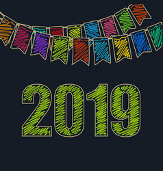 new year background 2019 vector image