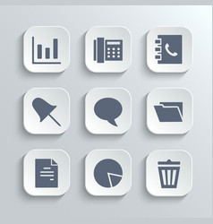 Office icons set - white app buttons vector image