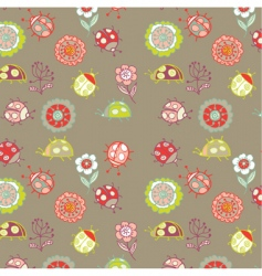 Pattern with ladybird vector