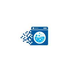 Pixel laundry logo icon design vector