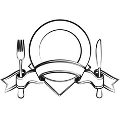 Plate with ribbon spoon knife and fork vector