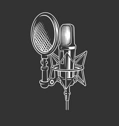 Podcast retro microphone vector