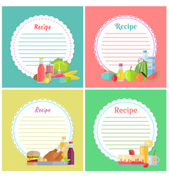 Recipe book with lines for writing ingredients vector