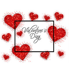 red glitter hearts valentine day card vector image