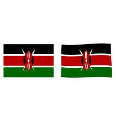 republic of kenya flag simple and slightly waving vector image