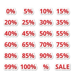 Retail sale percents red icons set vector image