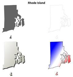 Rhode Island blank outline map set vector