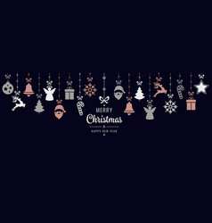 Rose gold christmas greetings ornament elements vector