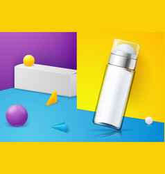Scene with deodorant bottle and paper box vector