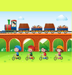 Scene with trains on bridge and kids riding bike vector