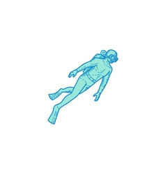 Scuba Diver Diving Mono Line vector