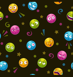 seamless pattern with colorful round faces vector image