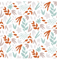 Seamless pattern with leaves abstract print vector