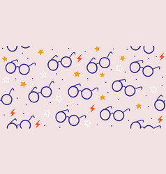 Seamless pattern with round eyeglasses stars vector