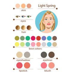Seasonal color analysis palette for light spring vector