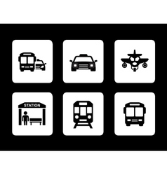 Set of black transport icons vector