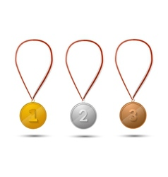 Set of gold silver and bronze medals on white vector image vector image