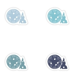 Set of paper stickers on white background mushroom vector