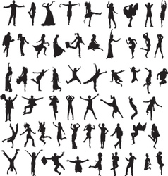 set of silhouettes of happy people vector image
