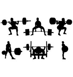 Set powerlifting athletes vector