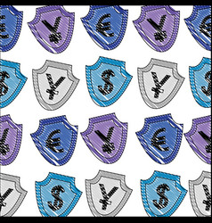 shields with symbols international currencies vector image
