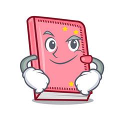 Smirking diary character cartoon style vector