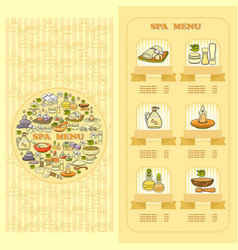 Spa salon menu card set of cute various spa icon vector