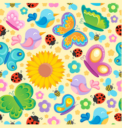 spring theme seamless background 1 vector image