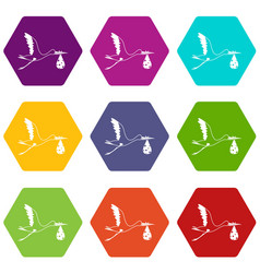 stork carrying icon set color hexahedron vector image