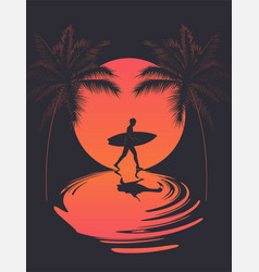 summer poster with walking surfer silhouette at vector image