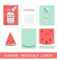 Summer printable cards Detox fat flush water vector