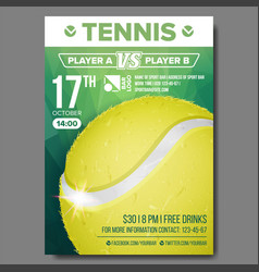 Tennis poster sport event announcement vector
