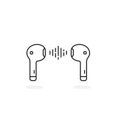thin line earbuds isolated on white vector image