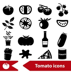 Tomatoes theme black simple icons set eps10 vector