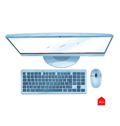 top view of desktop computer vector image