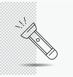 Torch light flash camping hiking line icon on vector