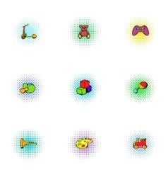 Toys kid icons set pop-art style vector