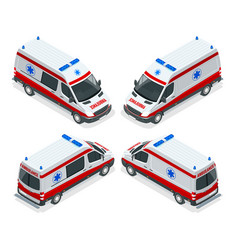 transport isometric set ambulance van isolated vector image