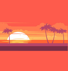 Tropical beach with palm trees and sea - resort vector