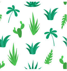 tropical cactus seamless pattern natural hand vector image