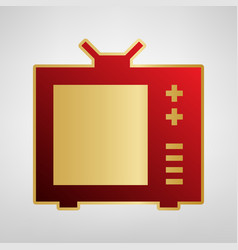Tv sign red icon on gold vector