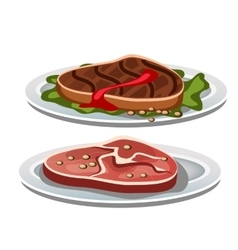 Two grilled steak on a white background food vector