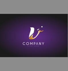 V alphabet letter gold golden logo icon design vector