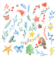 Watercolor christmas pattern vector