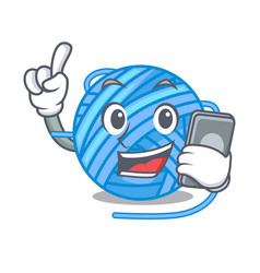 With phone wool ball in a shape cartoon vector