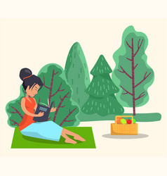 Woman sit on blanket and read book outdoor picnic vector