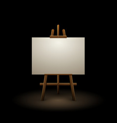 Wooden easel canvas board isolated stand in dark vector