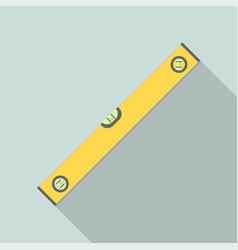 yellow level tool ruler icon flat style vector image